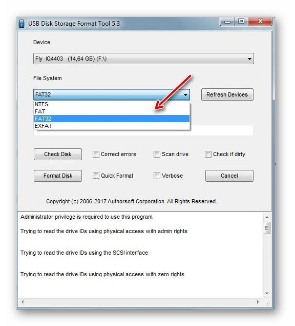 Selecionando a ferramenta de formato de armazenamento de disco do sistema de arquivos USB HP