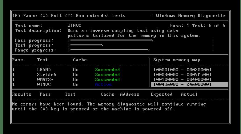 กระบวนการตรวจสอบยูทิลิตี้การวินิจฉัยของ Windows Memory