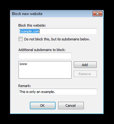Masukkan alamat laman web mana-mana Weblock