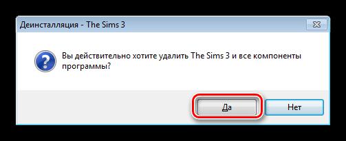 Potwierdzenie usunięcia gry Sims 3 z panelu sterowania systemu Windows 7