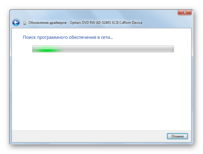 The process of automatic search for drivers on the Internet through the Updating Device Device Manager Drivers window in Windows 7