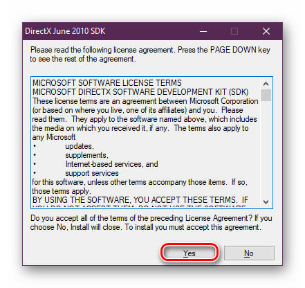 Brukeravtale før du installerer DirectX-biblioteker for Windows 10