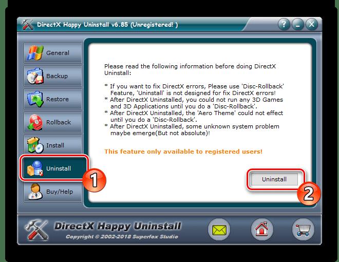 Fjern komponenter gjennom DirectX Happy Uninstall-programmet