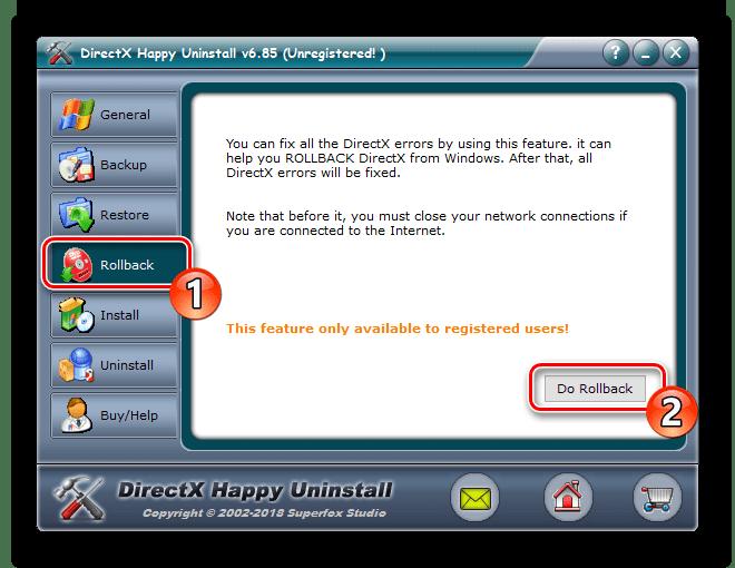 Gjenopprett komponenter via DirectX Happy Uninstall