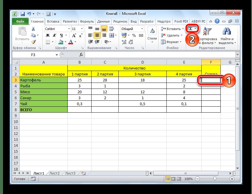 De AutoSumma-formule invoeren voor het tellen van het bedrag in de Microsoft Excel-tabel