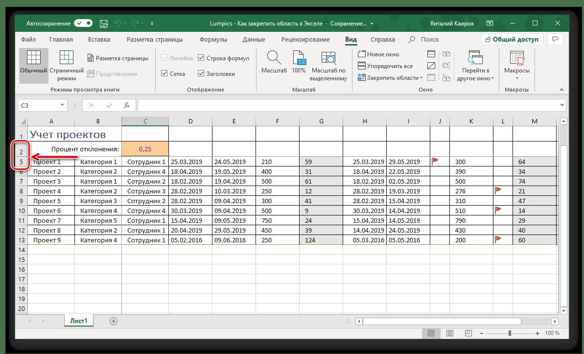 Området från strängar är fixat i Microsoft Excel-tabellen