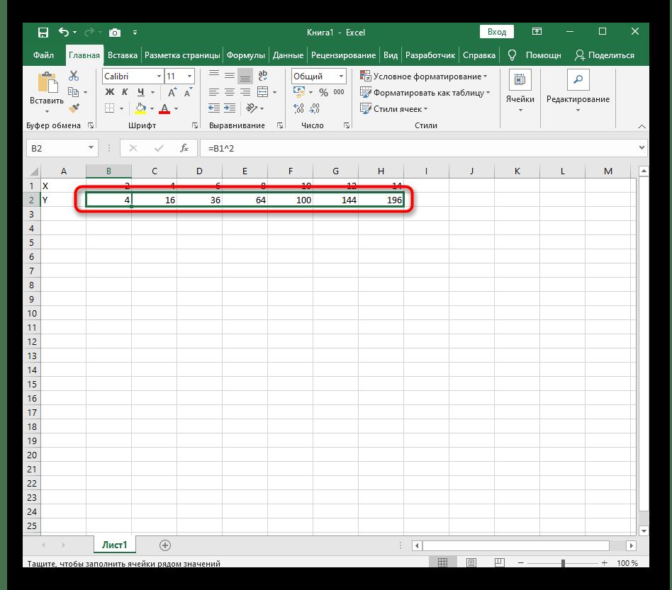 Excel бағдарламасында X ^ 2 функциясын жасамас бұрын формуланы созу