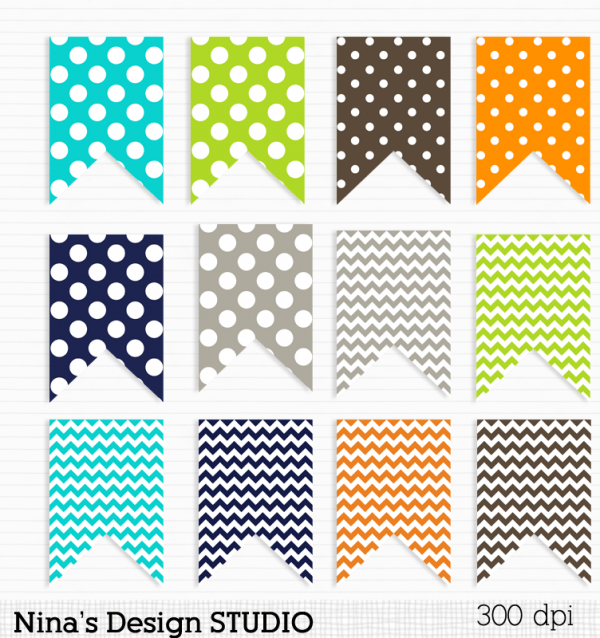 Orange Blue Gray And Green Flags Tags Graphics Clip