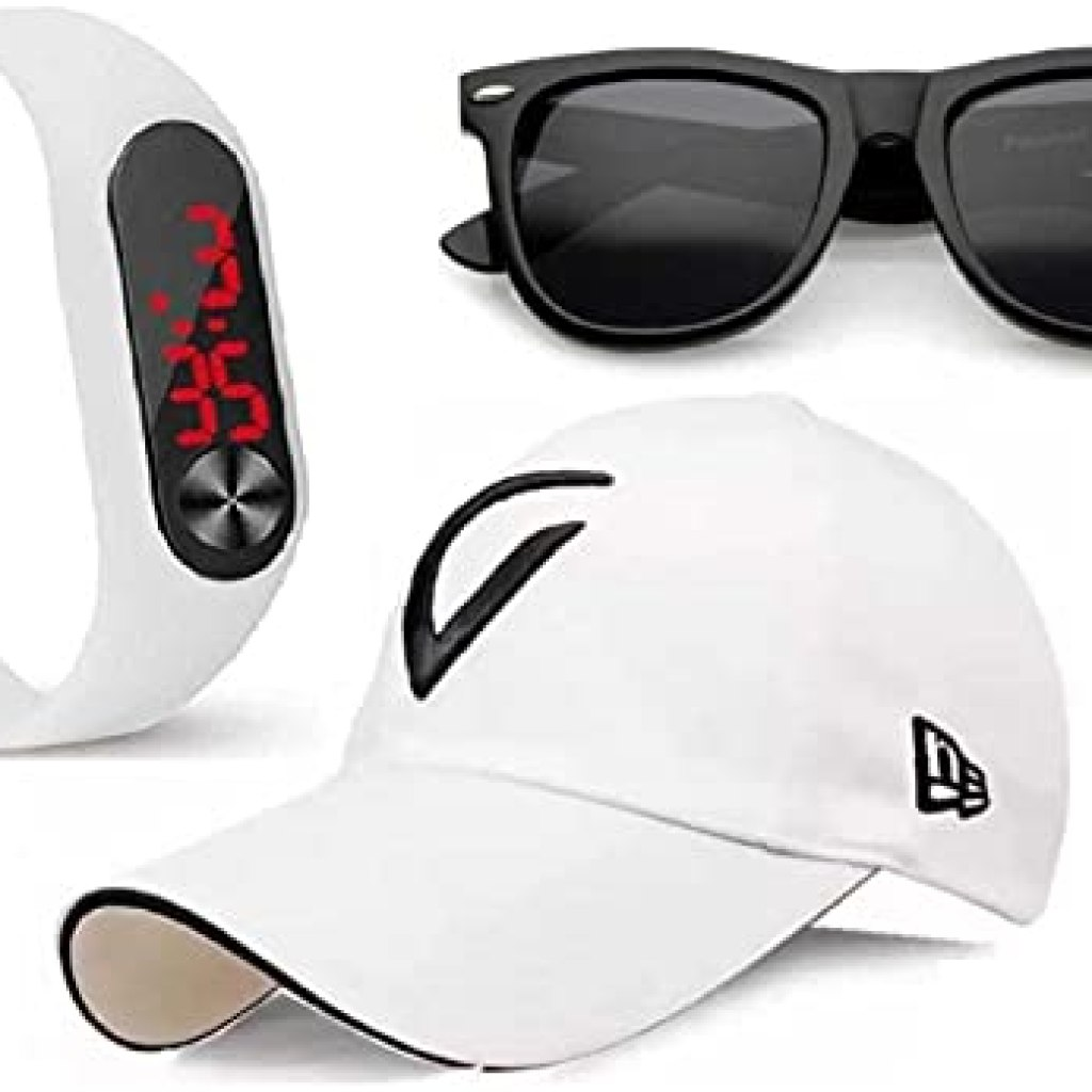 SELLORIA Brand LED White Watch M2 for Men & Women & Kids Digital Watch with White Cap-Black Sunglass for Boys & Girls