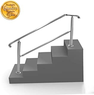5 Step Handrail Stainless Steel Adjustable Stair Railing For | Stainless Steel Outdoor Stair Railings | Horizontal | Balcony 4X10 | Metal | Black | Hand