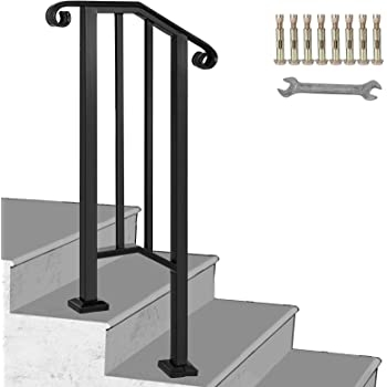 Happybuy Handrail Picket 1 Fits 1 Or 2 Steps Matte Black Stair   Metal Railing For Stairs Outside   Railing Ideas   Railing Kits   Front Porch   Spiral Staircase   Wrought Iron
