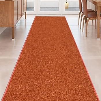 Amazon Com Kapaqua Burnt Orange Solid Plain Rubber Backed Non | Burnt Orange Stair Carpet | 4500 10538 | Non Slip | Orange Area Rug | Overstock | Self Adhesive