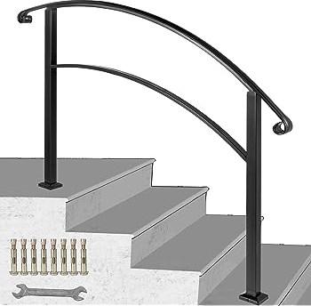Happybuy 4 Step Handrail Fits 1 Or 4 Steps Matte Black Stair Rail | Black Wrought Iron Stair Railing | Oak And Iron | Straight Line | Rectangular Iron | Walnut Iron | Steel Railing