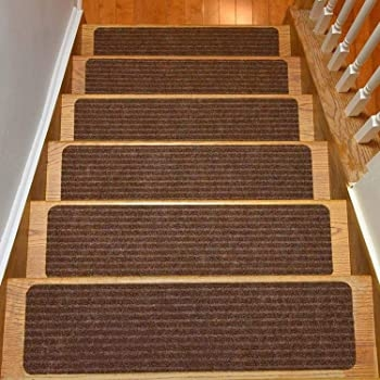 Amazon Com Rugstylesonline Stair Treads Collection Set Of 13 | 8 Inch Carpet Stair Treads | Wooden Stairs | Bullnose Carpet | Skid Resistant | Non Skid | Non Slip Stair