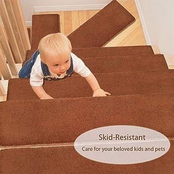 Pure Era Bullnose Carpet Stair Treads Set Of 14 Non Slip Self | Plush Carpet Stair Treads | True Bullnose Carpet | Super Soft | Anti Slip | Wool Carpet | Wall Carpet