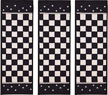 Stair Treads Skid Slip Resistant Backing Indoor Carpet Stair | Black And White Stair Carpet | Entry Hall | Square Pattern | Luxurious | American Style | Small Space