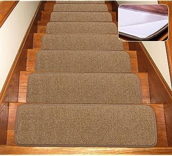 Amazon Com House Home And More Set Of 15 Skid Resistant Carpet   Beige Carpet On Stairs   Living Room   Art Deco   Design   Pattern   Builder Grade