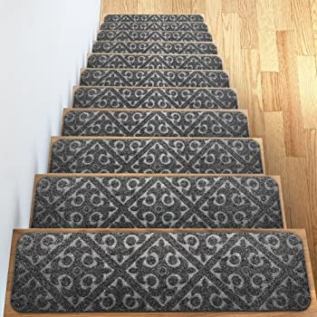 Amazon Com Carpet Stair Treads Set Of 13 Non Slip Skid Rubber | Carpet Cover For Stairs | Flooring | Stylish | Cheap | Diamond Pattern | Patterned