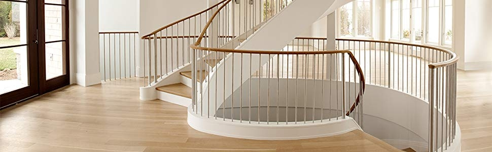 Zipbolt 13 950 Angled Slipfix Railbolt Angled Staircase Handrail   Handrail To Newel Post   Craftsman Style   Indoor Railing   Wood   Gray Stain   White Oak