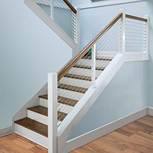 Muzata 1 8 Cable Railing Kit Hardware T316 Marine Grade   Wood And Wire Stair Railing   Hampton Style   Exterior   Closed Staircase   Horizontal Round Bar   Square Wire