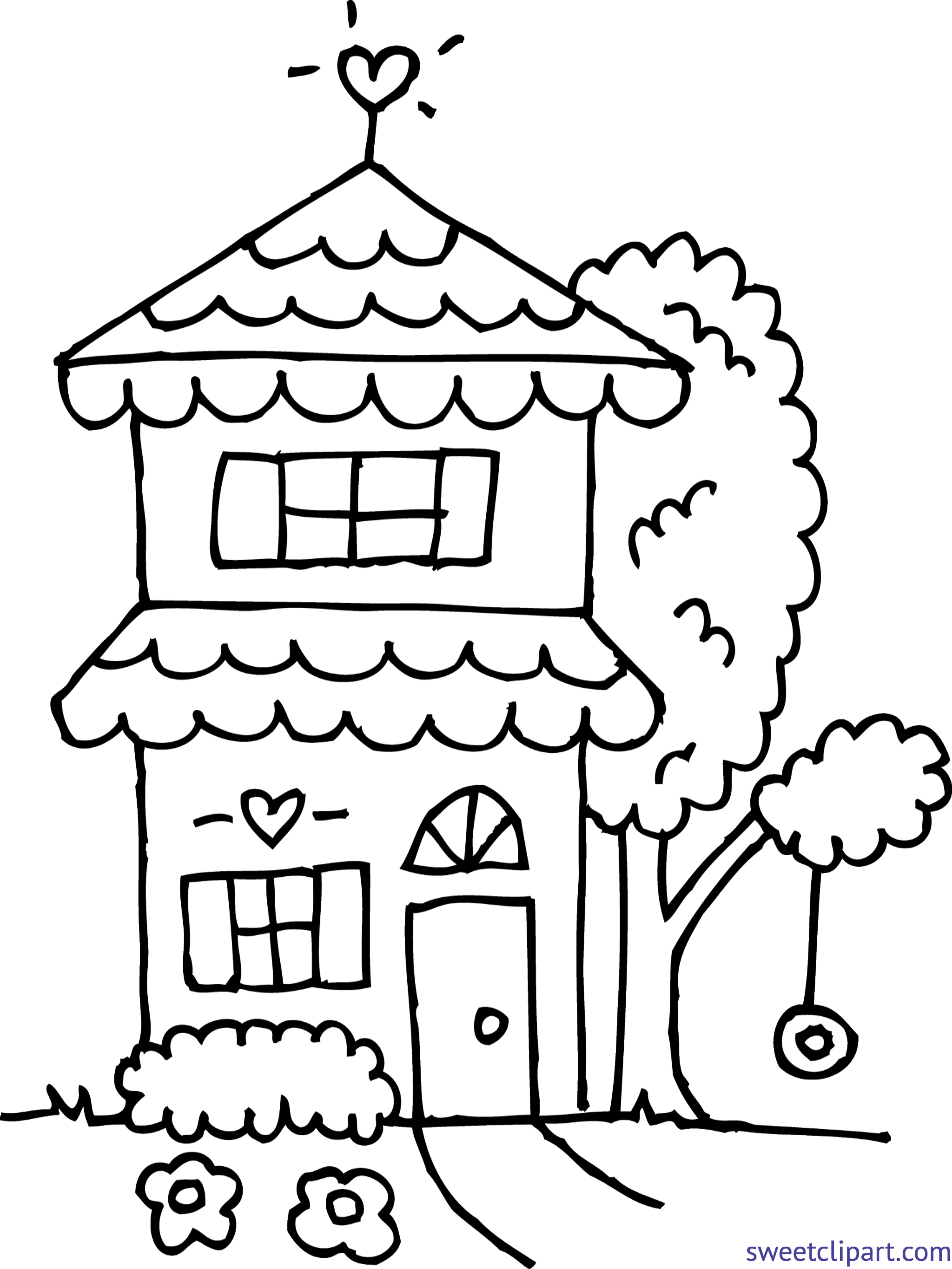 Cute House 2 Coloring Page Clip Art Sweet Clip Art