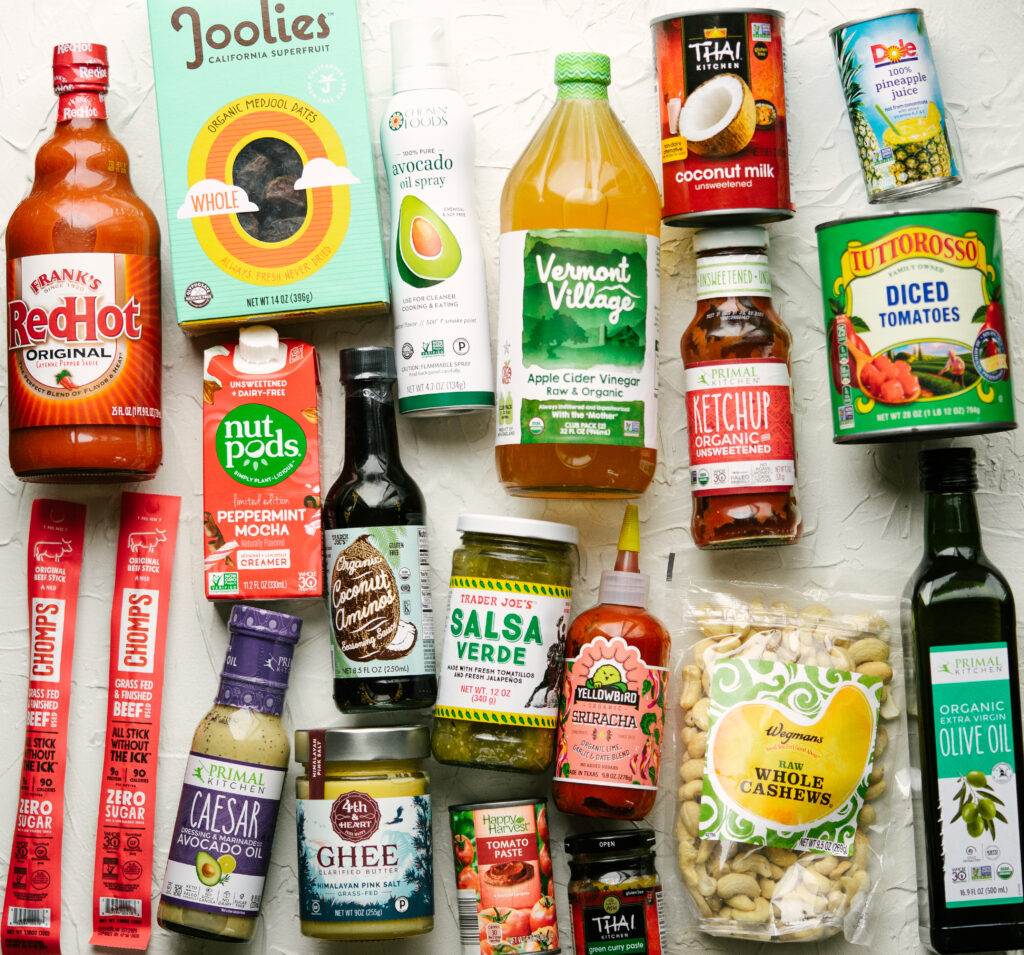 flat lay of whole30 approved pantry staples
