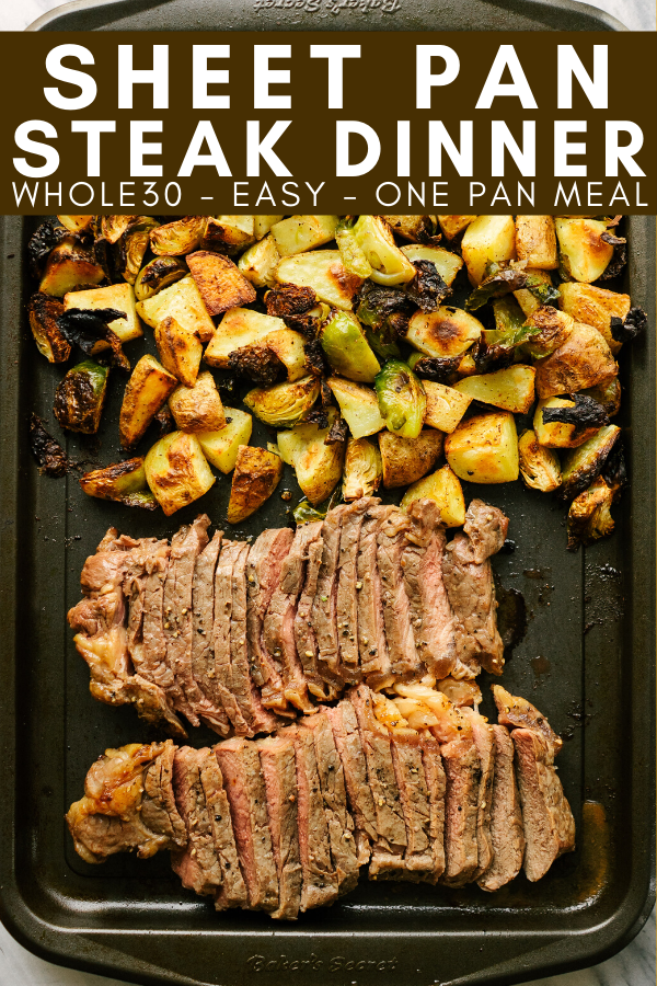 sheet pan steak dinner image with text for pinterest