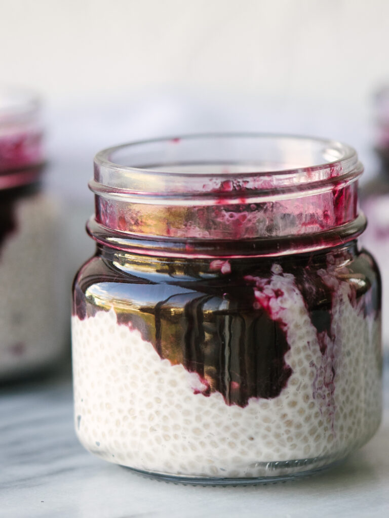 close up view of blueberry coconut chia seed pudding