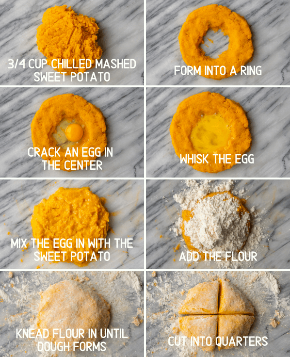 step by step instructions for the sweet potato gnocchi recipe and forming the noodles