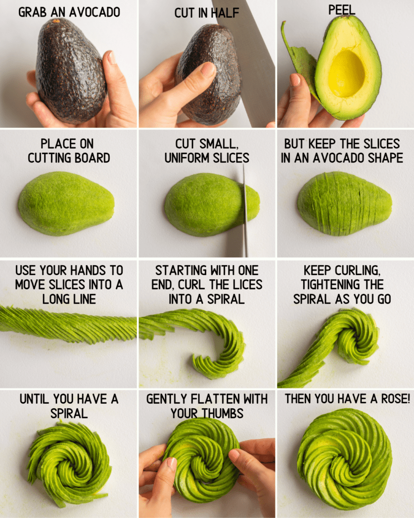 Image that teaches how to make an avocado rose step by step