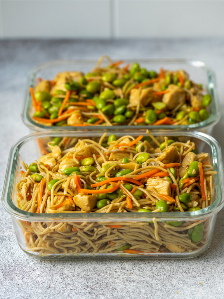 Prepared soba noodles in a meal prep container