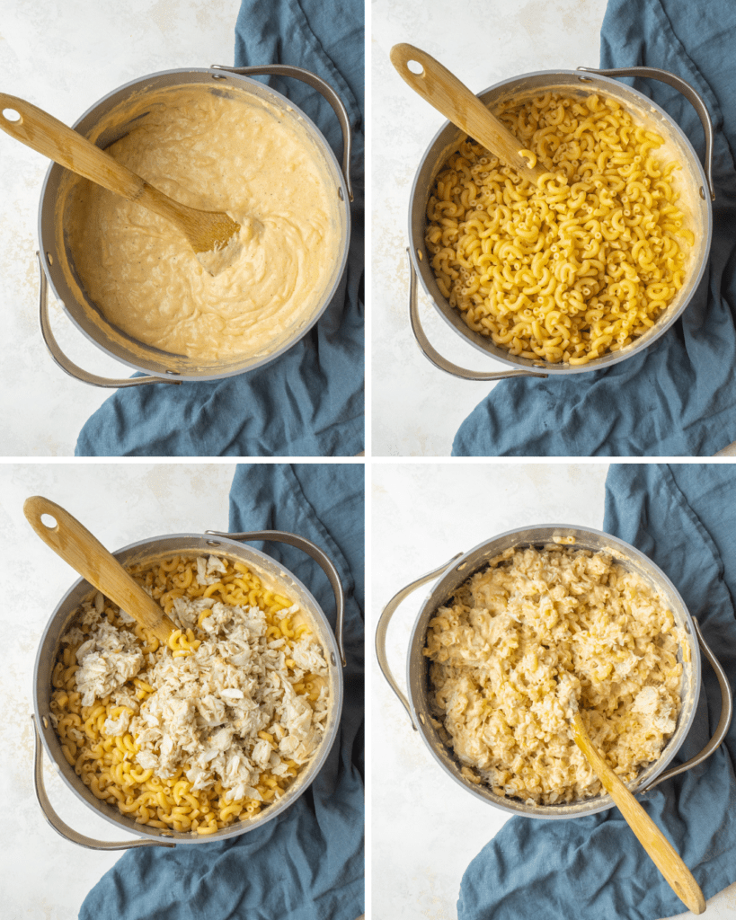 Above view of step by step assembly for crab mac and cheese