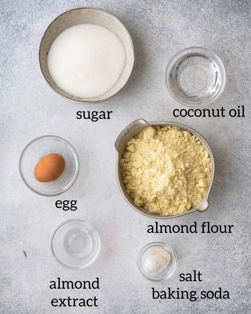 above view of ingredients for the holiday almond cookies