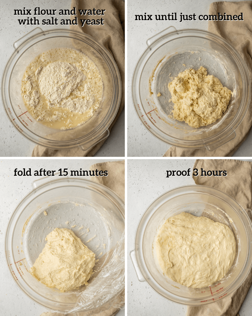 Above view of step by step assembly for the tomato pie pizza dough