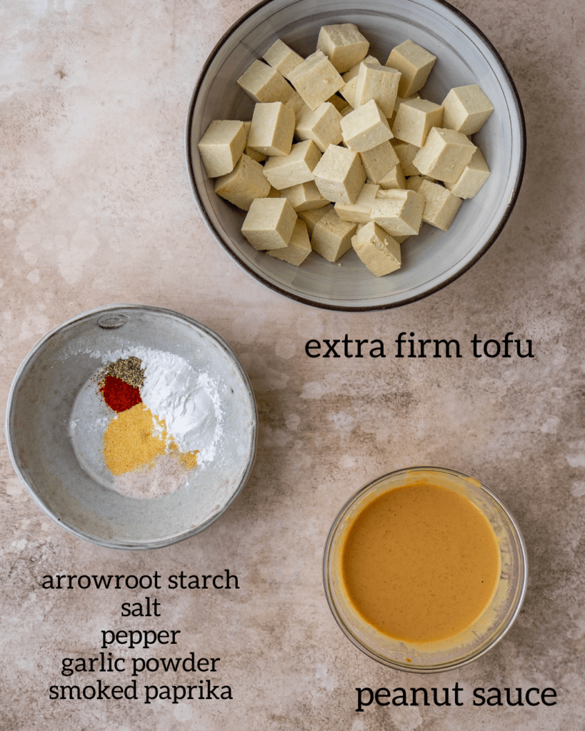 overhead view of ingredients for air fryer tofu recipe
