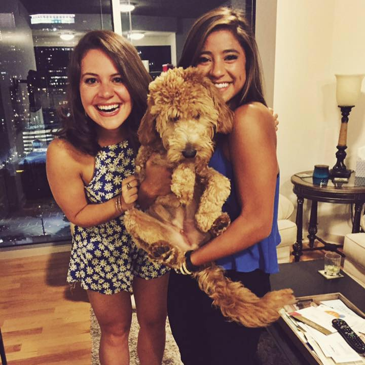 Photo of the writer with her roommate and her roommates dog in Atlanta