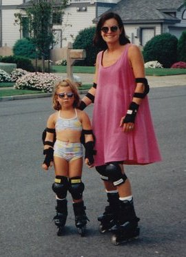 Photo from the 1990s of me as a young kid rollerblading with my mom