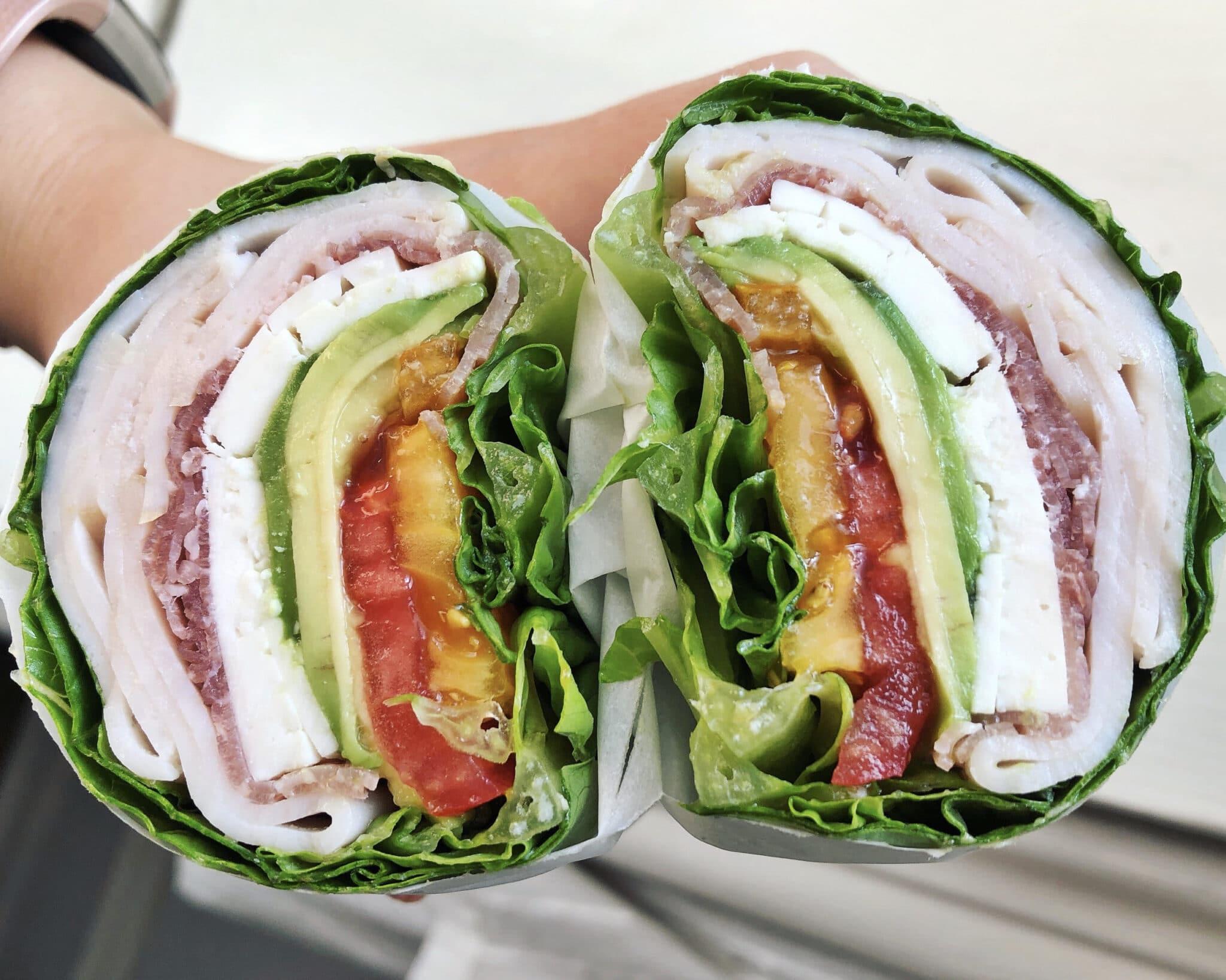 Side view of a low carb lettuce wrap sandwich