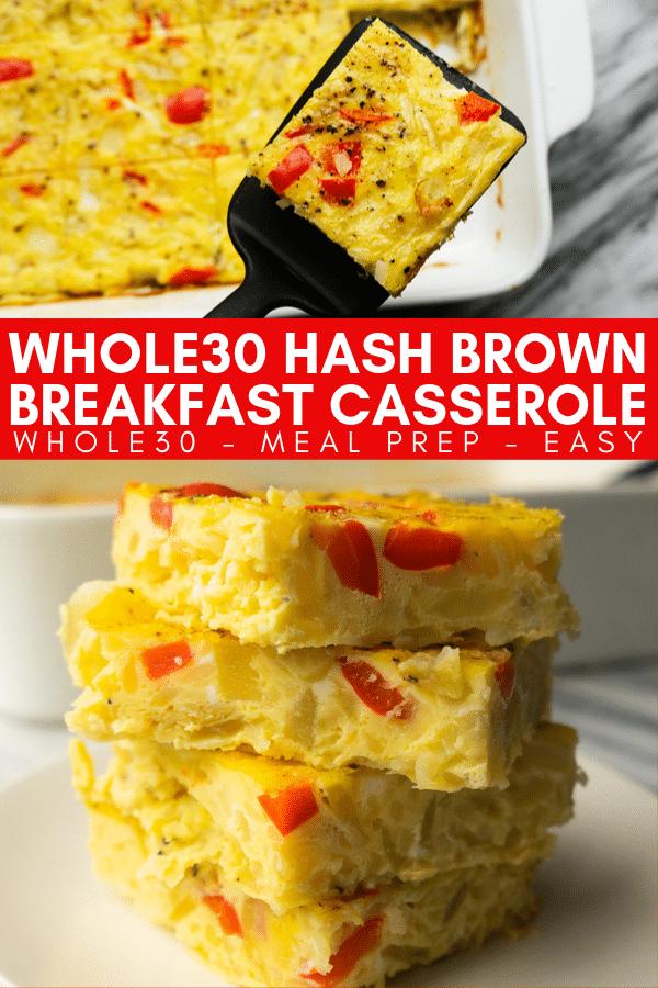Image for pinning hashbrown breakfast casserole recipe on Pinterest