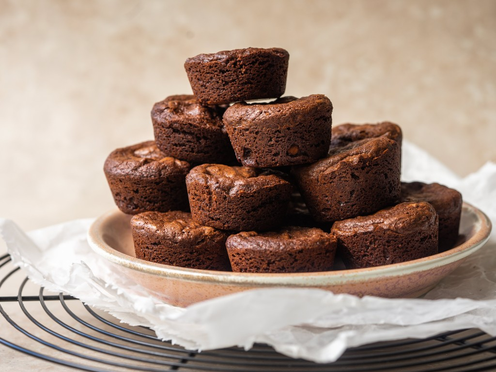 Side view of brownie bites stacked up