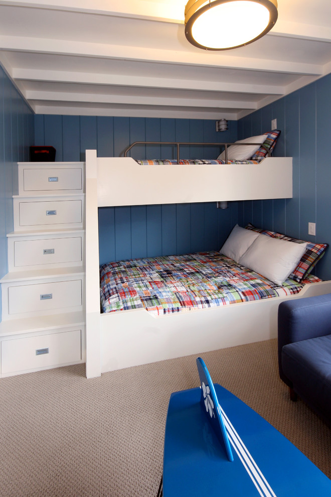 Chic Bunk Beds With Stairs In Kids Traditional With Built