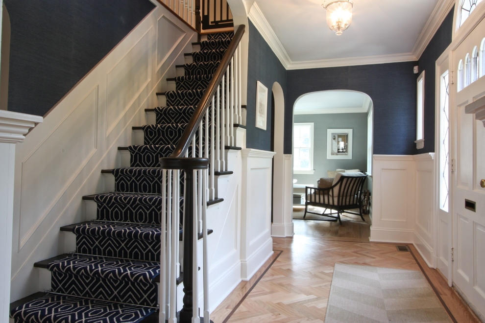 Baroque Non Slip Stair Treads In Staircase Traditional With Foyer   Navy Blue Stair Treads   Wayfair   Non Slip   Longshore Tides   Rug Stair   Stair Runners