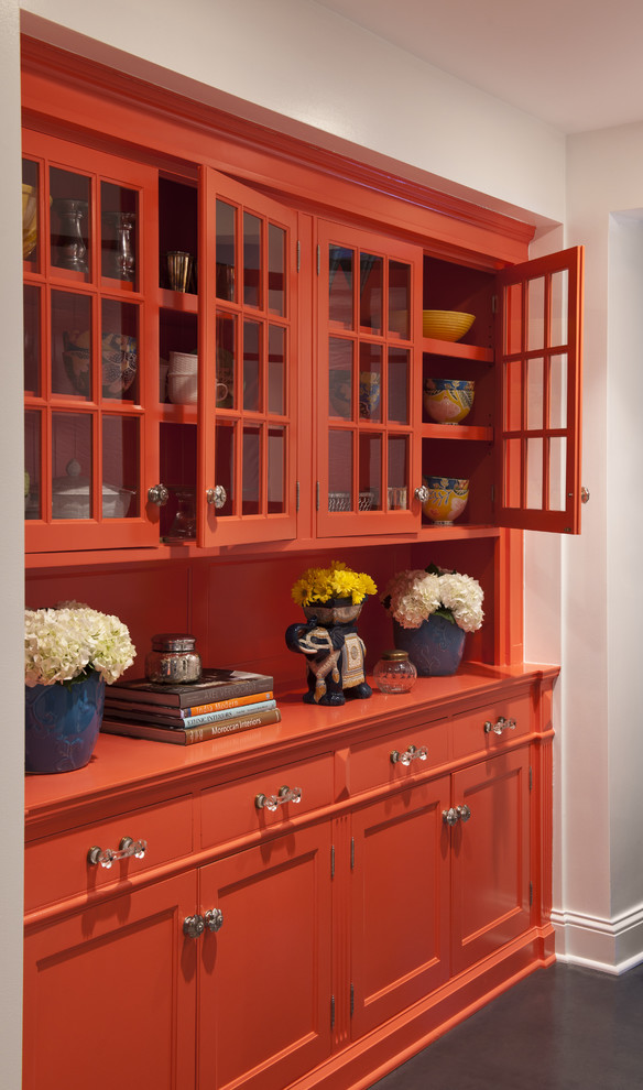 Bright Buffet Hutch In Dining Room Eclectic With Wall