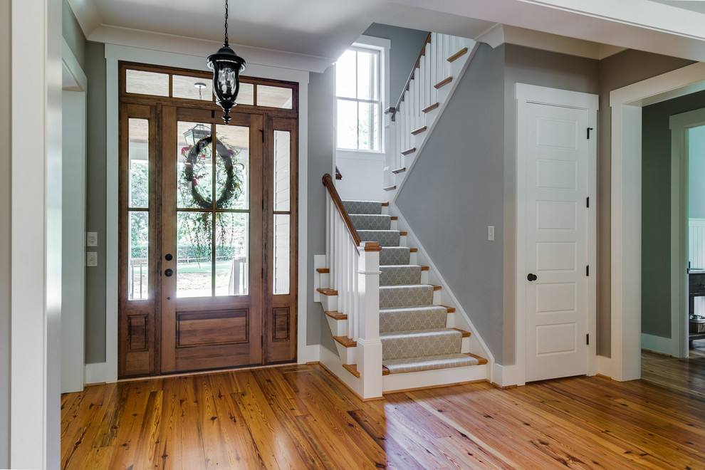 Chic Breakfast Nook Bench In Staircase Farmhouse With
