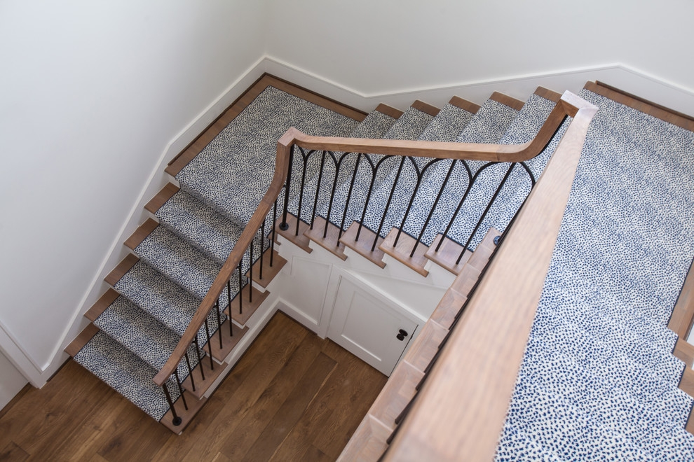 Glamorous Hallway Runners In Staircase Transitional With Carpet | Best Carpet For Stairs And Hallway | Indoor Outdoor | Elegant | Fitting Loop Pile Carpet | Open Plan | Heavy Duty