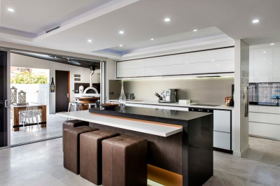 Inspired backless bar stools in Kitchen Contemporary with ...