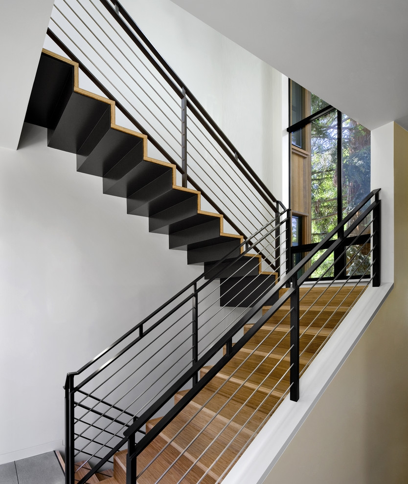 Modern Stair Railings Staircase Contemporary With Indoor Outdoor   Outdoor Wood Stair Railing   Child   Stair Inside   Staircase   Natural Wood   Build In