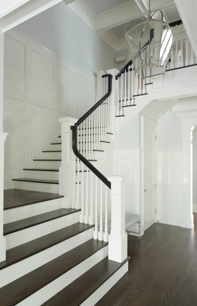 Wood Stair Treads Staircase Traditional With Dark Stained Stairs | Engineered Hardwood Stair Treads | Bullnose | Platform | Engineered Hardwood | Interior | Luxury Vinyl