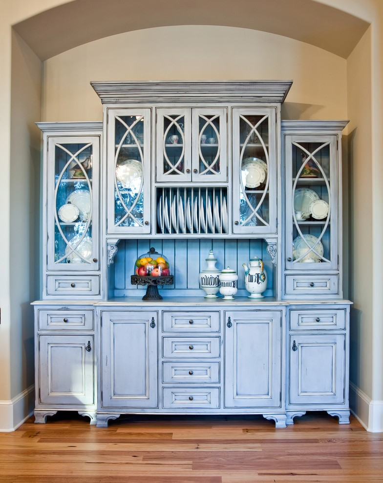 Distressed China Cabinet With French Crystal Chandelier