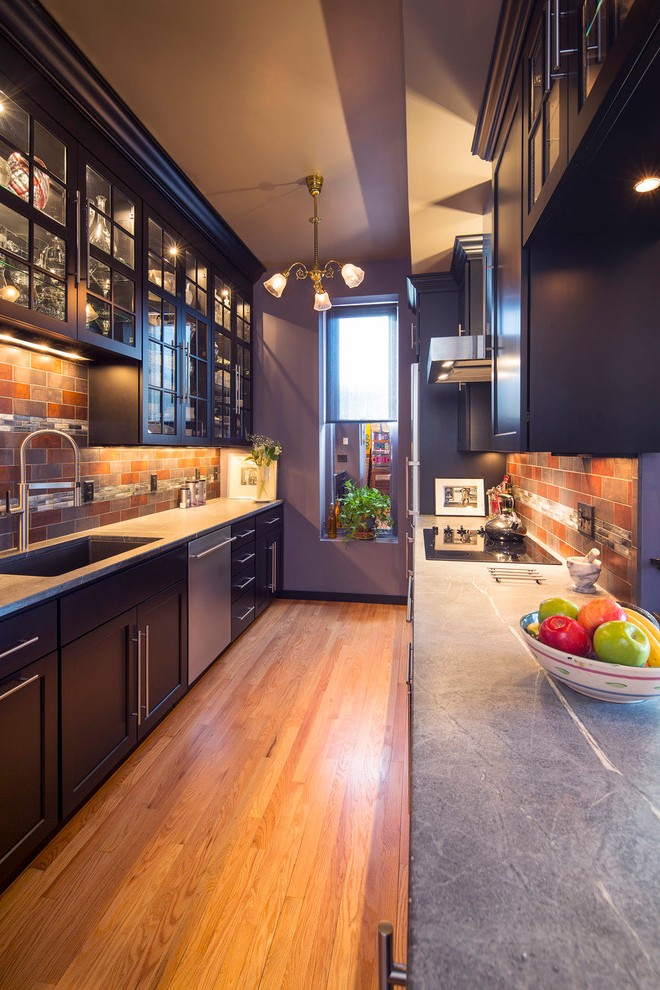 Galley Kitchen Lighting Midcentury With Traditional